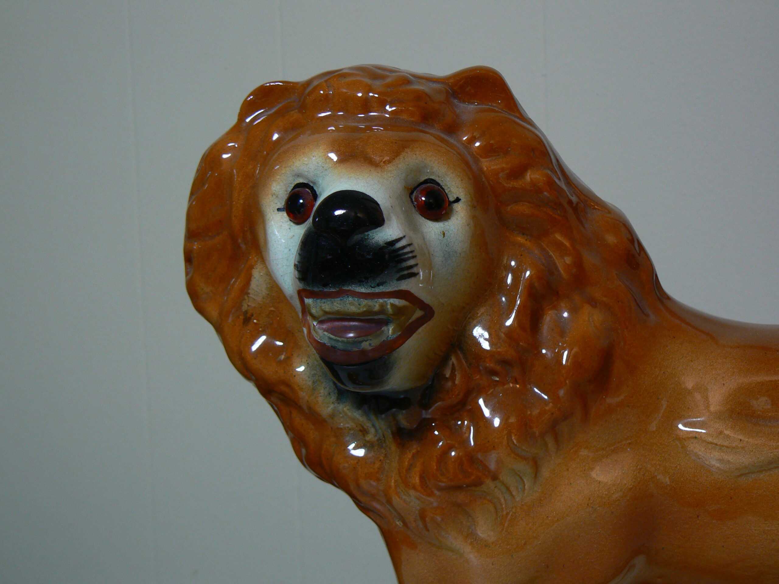 detail of antique staffordshire lion figurine ready for appraisal services from Dobesh Appraisal in Portland Oregon